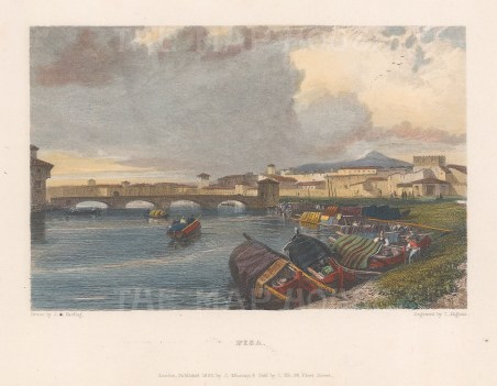 "Murray: Pisa. 1833. A hand coloured original antique steel engraving. 6"" x 5"". [ITp1924]"
