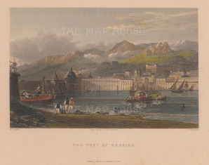 """Fisher: Messina, Sicily. c1840. A hand coloured original antique steel engraving. 8"""" x 6"""". [ITp1999]"""