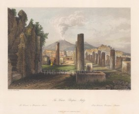 "Fisher: Pompeii. c1840. A hand coloured original antique steel engraving. 9"" x 7"". [ITp2026]"