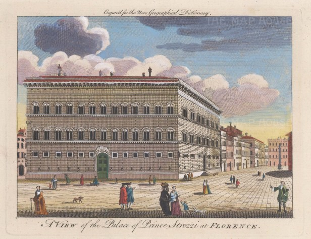 """Moll: Palazzo Strozzi, Florence. c1745. A hand coloured original antique copper engraving. 10"""" x 7"""". [ITp2135]"""