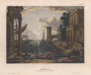 "Meyer: Messina, Sicily. 1847. A hand coloured original antique steel engraving. 6"" x 4"". [ITp2138]"