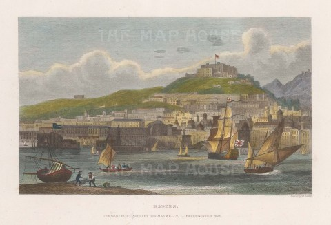 """Kelly: Naples. c1840. A hand coloured original antique steel engraving. 8"""" x 6"""". [ITp2165]"""