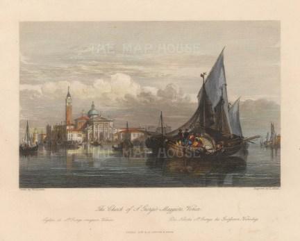 """Fisher: San Giorgio Maggiore, Venice. c1840. A hand coloured original antique steel engraving. 8"""" x 7"""". [ITp2218]"""