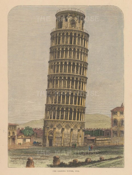 """Reclus: The Leaning Tower, Pisa. 1894. A hand coloured original antique wood engraving. 7"""" x 10"""". [ITp2228]"""