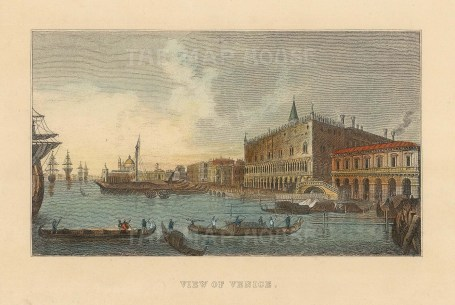 """Anonymous: Grand Canal, Venice. c1830. A hand coloured original antique steel engraving. 4"""" x 3"""". [ITp2236]"""