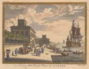 "Moll: Palazzo Reale, Naples. c1745. A hand coloured original antique copper engraving. 9"" x 7"". [ITp2247]"