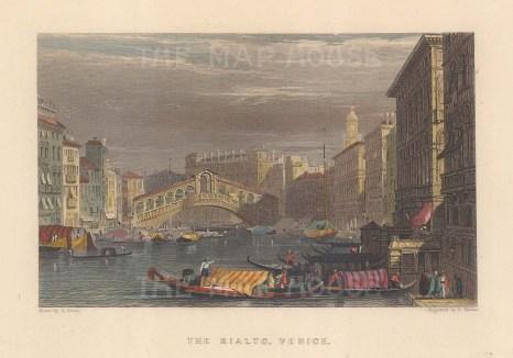 "Fullarton: Ponte Rialto, Venice. 1856. A hand coloured original antique steel engraving. 5"" x 4"". [ITp2284]"