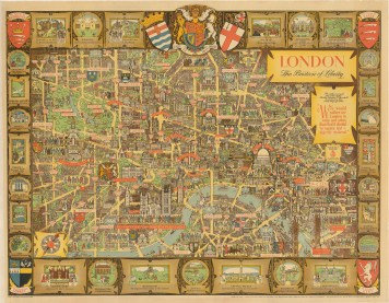 lee 1947 50 x 40 Spectacular pictorial map of London published shortly after the end of WWII by British poster artist Kerry Lee. All of the famous landmarks are illustrated, as are many famous historical figures