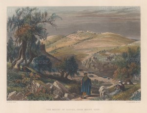 """Wilson: Mount of Olives.1886. A hand coloured original antique steel engraving. 10"""" x 6"""". [MEASTp1720]"""