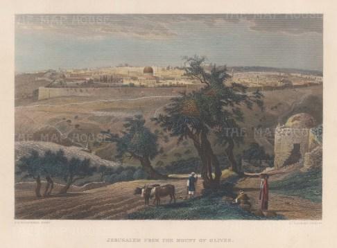 "Wilson: Jerusalem.1886. A hand coloured original antique steel engraving. 10"" x 6"". [MEASTp1721]"