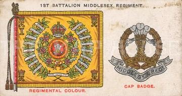 1st Battalion Middlesex Regiment, amalgamated to the Queen's Regiment. Cap badge and colours.