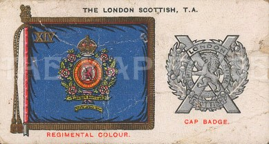 Cap badge and colours. 'A' company of the London regiment.