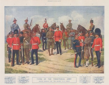 Twenty-one types of uniform of different ranks. After the painting by the military artist Richard Simkin.