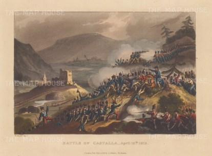 Battle of Castalla, 1813. Lt Gen Sir John Murray successful defence during the peninsular campaign. After William Heath.