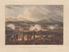 Battle of Fuentes d'Onor 1811. Wellington's successful action with Portuguese against the French. After William Heath.