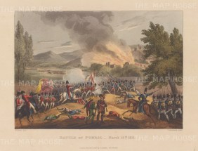 Battle of Pomba 1811. A successful rearguard action by Marshal Ney during the retreat of Marshal Messena from Torres Vedras. After William Heath.