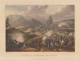 Battle of Salamonda, 1809. Retreat led by Marshal de Soult after the defeat at Oporto. After William Heath.