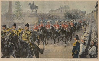 Canadian Mounted Troops. The Colonial Procession Passing through Trafalgar Square.