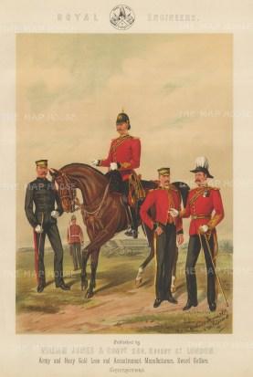 "Jones & Co.: Royal Engineers. c1886. An original antique chromolithograph. 13"" x 18"". [MILp8]"