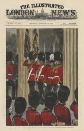 Placing the Waterloo colours at Wellington Barracks.