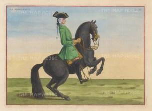"Eisenberg: Le Vigoureux. 1727. A hand coloured original antique copper engraving. 13"" x 10"". [NATHISp2704]"