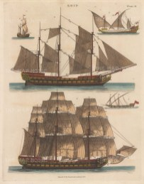 Dogger (1), Galley under sail (2) Galley rowing (3), Ship with sails fully extended and partially (4,5).