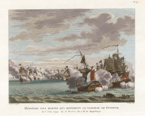 Battle of the Glorious First of June 1794. British fleet under Lord Howe and the French under Rear-Admiral Villaret-Joyeuse. Le Vengeur ensuring safe passage. French Revolutionary War.