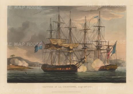 Capture of La Chiffonne by HMS Sybille, Seychelles 1801. After Thomas Whitcombe. French Revolutionary Wars.