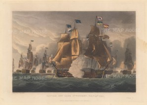 Battle of Cape St Vincent 1797. Admiral Sir John Jervis defeating a larger Spanish fleet off Portugal. After Thomas Whitcombe. French Revolutionary Wars.