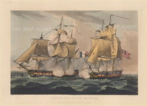 Capture of the Castor 1794. HMS Castor was regained by her British crew before she made a French port. After Thomas Whitcombe. French Revolutionary Wars.