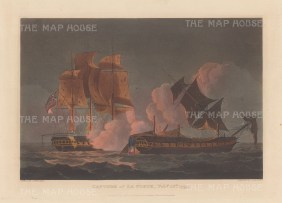 Capture of La Forte by HMS Sybille off Bengal 1799. After Thomas Whitcombe. French Revolutionary Wars.