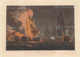Battle off Cabareta Point 1801. The Rea Carlos and San Hermenegildo in flames during the routing by Capt. James de Saumarez off the coast of Spain. After Thomas Whitecombe. Napoleonic Wars.