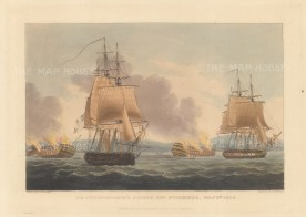 Battle of St. Domingo 1806. The Royal Navy's under Sir Admiral John Duckworth defeating the French in the last battle of the Napoleonic Wars. After Thomas Whitecombe. Napoleonic Wars.