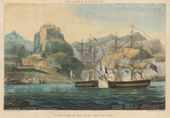 Off the coast of Corfu by HMS Belle Poule under command of Captain James Brisbane.15 February 1809.