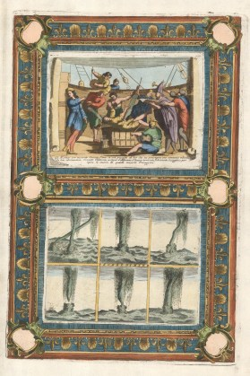 Double view with decorative border showing a sailor's rite of passage on crossing the equator and the waterspout or sea tornado.