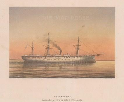 "Griffin & Co.: HMS Crocodile. 1872. An original antique chromolithograph. 9"" x 7"". [NAVp64]"