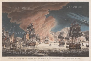 The Anglo-Dutch Fleet under Admiral Lord Exmouth battled to end the enslavement of Europeans by Omar Agha, Dey of Algiers. After the paintings by Thomas Luny.