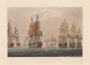 Sir Robert Calder's Action off the coast of Cape Finisterre 1805. Calder's ship the 'Prince of Wales' in the foreground. After Thomas Whitcombe. Napoleonic Wars.