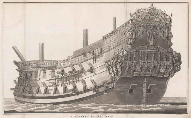 """Charnock: Spanish Second Rate. 1801. An original antique copper engraving. 19"""" x 12"""". [NAVp99]"""