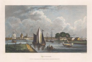 """Kelly: Amsterdam, Netherlands. c1840. A hand coloured original antique steel engraving. 6"""" x 4"""". [NETHp198]"""