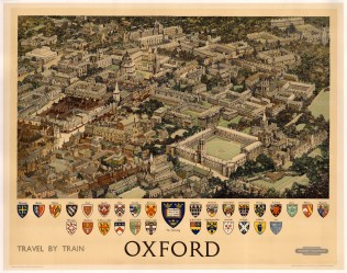 Vintage quad-royal travel poster featuring a photo-realistic drawing of Oxford from above. The crests of the University colleges are arranged below. Designed by Fred Taylor for British Railways.