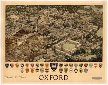 Oxon529 bri rail 1951 50 x 40 Vintage quad-royal travel poster featuring a photo-realistic drawing of Oxford from above. The crests of the University colleges are arranged below. Designed by Fred Taylor for British Railways.