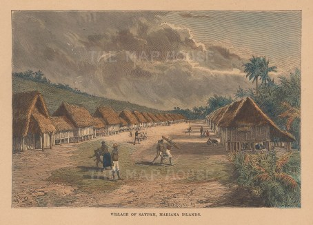 "Reclus: Saipan, Mariana Islands. 1894. A hand coloured original antique wood engraving. 8"" x 6"". [PLYp268]"