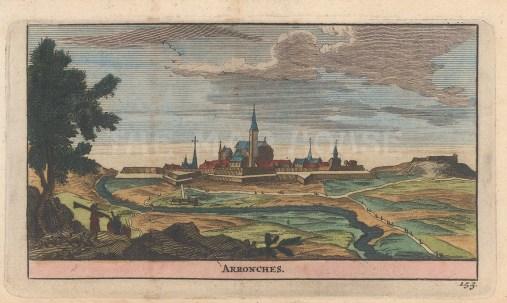 "van der Aa: Arronches, Portugal. 1715. A hand coloured original antique copper engraving. 6"" x 5"". [PORp141]"