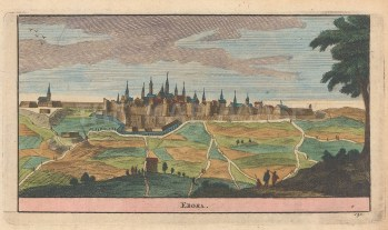 "van der Aa: Ebora, Portugal. 1715. A hand coloured original antique copper engraving. 5"" x 3"". [PORp171]"