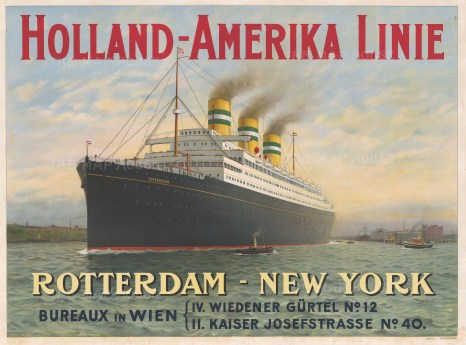 Holland-Amerika Line: 'Rotterdam - New York'. Early promotional shipping poster.