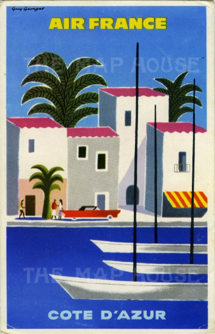 Cote d'Azur: Postcard promoting Air France's route to the French Riviera after Guy Georget.