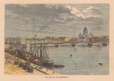 "Reclus: St. Petersburg, Russia. 1894. A hand coloured original antique wood engraving. 9"" x 6"". [RUSp539]"