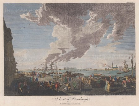 Panoramic view of the Port of St. Petersburg with Peter and Paul fortress on the right.