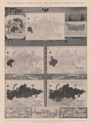 Nine centuries of Russian Advance. Five maps showing expansion into Asia with vignettes.